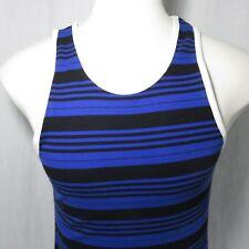 55d8000f2470d Crooks And Castles S Black Blue Striped Cotton Tank Top Shirt Rounded Hem