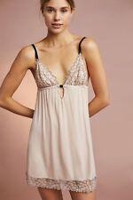 Eberjey ROSARIO THE KEYHOLE Pink Tint Black Modal Jersey Lace Trim Chemise - L
