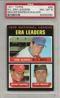 SET BREAK -1971 TOPPS #68 NL ERA LDRS,  PSA 8 NM-MT, TOM SEAVER, HOF, CENTERED