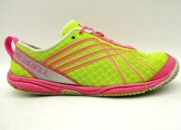 Merrell Yellow Pink Mesh Lace Up Athletic Lightweight Running Shoes Women's 7.5