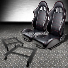 2 PVC LEATHER RED STITCHES RACING SEATS+LOW MOUNT BRACKET FOR 97-04 CORVETTE C5