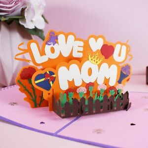 US Shipping~ Love You Mom 3 D Pop Up Card Mothers Day/ Birthday/ Special Events