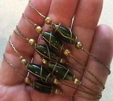 """Vintage Necklace Wire-Wrap Bead Gold-Tone w/ Earth Tone Glass Beads 48"""""""