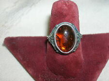 Vintage 925 Sterling Silver Ring Size 7 Ornate Band Amber Rootbeer Setting