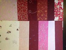 Handmade Craft Paper - Red Tones - Metallic Embossed Pearlescent Assorted