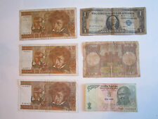 20 VINTAGE CURRENCY NOTES - U.S., FRANCE, INDIA, ENGLAND, ITALY & BRAZIL - NICE