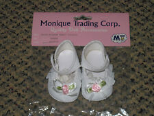 White *Mary Jane* Style Doll Shoe 00004000 s, American Girl/Reborn-Pink Rose/Lace Trim New