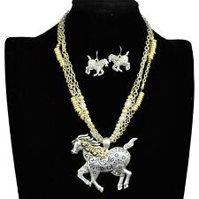 Premium Western Vintage Wild Horse Rhinestone Silver Edition Necklace Earring