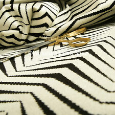 New Geometric Thin Chevron Striped Black Cream Soft Velvet Upholstery Fabrics
