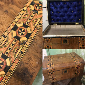 VERY OLD Wooden Antique  MARQUETRY Hinged Storage JEWELLERY BOX As Found