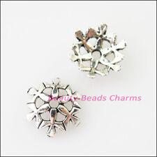 40Pcs Tibetan Silver Snowflake Flower End Bead Caps Connectors 10mm