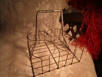 VINTAGE METAL WIRE MILK BOTTLE OR OIL BOTTLE CARRIER