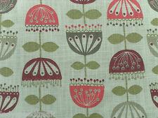 Villa Nova Curtain Fabric GARLAND 5.25m Cherry - Modern Abstract Floral Design