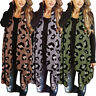 Fashion Women Open Front Leopard Cardigan Sleeveless Duster Draped Vests New