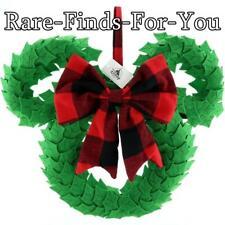 Disney Theme Parks Mickey Mouse Ear Icon Plush Christmas Holiday Wreath New/Tags