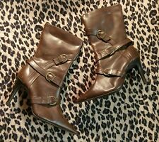 New Look Brown Pointed Heel Stud Boots Size 5