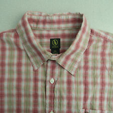 Aigle Button Up Shirt Mens Size XXL Red Brown Plaid Short Sleeve Outdoor
