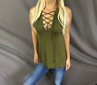 Corset Lace Up Tie Criss Cross Hi-Lo Hem Relaxed Fit Olive Sleeveless Tank Top