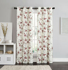 """2 Blackout Window Curtains Panel Pair Grommet Thermal Floral Burgundy Red 84"""""""