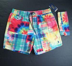 POLO RALPH LAUREN Men's Tie Dye Patchwork Swim Trunk w/ Matching Pouch NWT $198