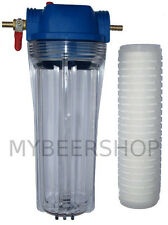 KEG TO KEG or GRAVITY FEED BEER FILTER WITH 8mm BARBS CARTRIDGES HOME BREW WATER