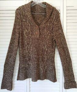 Columbia Womens Cardigan Sweater Cowl Neck Crochet Knit 1/4 Button Brown Medium