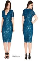 GODDIVA TEAL SEQUINE LACE SCALLOPED COCKTAIL PLUS SIZE EVENING PARTY DRESS 16-24