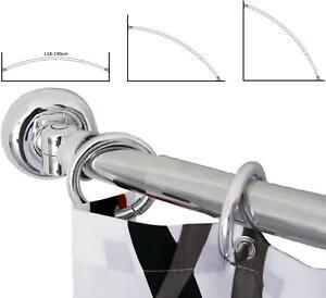 Telescopic  Extendable Curved Rail Bath Shower Curtain Pole Length 118-190cm