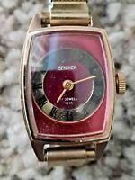 Vintage USSR Mechanical Sekonda Ladies Watch Red/Gold Dial Expandable Bracelet