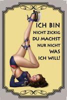 Nicht zickig Pin Up Girl Blechschild Schild gewölbt Metal Tin Sign 20 x 30 cm