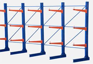 1,1-8m Kragarmregal, B-Ware Langgutregal, einseitig, versch. Höhen und Tiefen