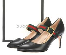 NEW GUCCI BLACK LEATHER WEB MID-HEELS PUMP SHOES 39/US 9  MODEL # 475086