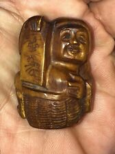 Antique Asian Buddha Tea Stained Pendant Estate Find 34 Grams