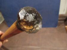 MW.630M: CLEAR CRYSTAL GLASS KNOB TOP ON ASH WOOD WALKING STICK CANE (1)