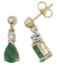 Emerald and Diamond Earrings Yellow Gold Drops Appraisal Certificate