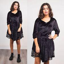WOMENS VINTAGE BLACK GOTHIC STYLE DRESS VELVET STEAM PUNK VICTORIANA 90'S 8 10