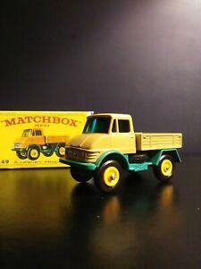 Vintage Lesney Matchbox Unimog Truck Brown #49 in Original E Type Box VNM
