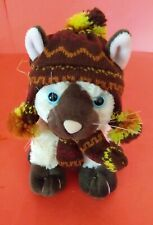 Little Sitting Plush Siamese Kitty Cat Kitten Wearing Knitted Hat & Scarf