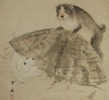 JAPANESE ART HANGING SCROLL Painting Japan Bamboo Dog Antique PUPPY Asian c834