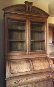 Tall Antique Victorian Walnut Cylinder Desk w/ Bookcase Top