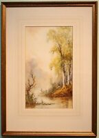 Original Framed Art Watercolour Painting RIVER FISHING signed by N RAWSON