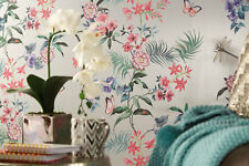 Tropical Wallpaper Carmen By Crown Flower Floral Butterfly Dragonfly Ladybird
