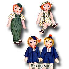 """Vintage Girl & Boy 11-1/2"""" tall Dolls Pattern ~ Janie & Johnny, cloth stuffed"""