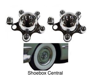 Chrome Spider Bullet Center Wheel Hub Caps 5 lug x 4-1/2 FORD BOLT PATTERN Pair
