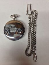 Land Rover Defender ref115 emblem on polished silver case pocket watch
