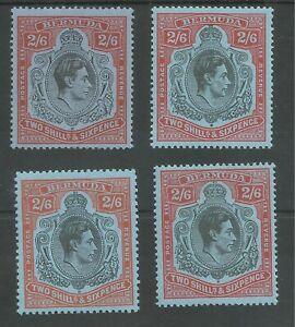 BERMUDA SG117,117b,117c&117d  4 DIFFERENT GVI 2/6ds MNH OR VLMM CAT £123