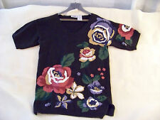 Capacity Navy Ramie/Cotton Painted Flowered Knit Top Hong Kong, Small $7.50