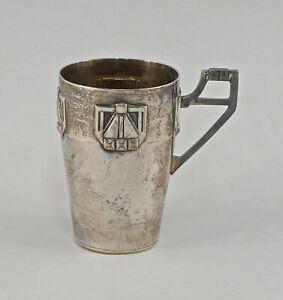 8430023 Versilberter Henkelbecher geometrischer Jugendsil um 1920