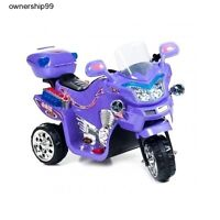 Power Wheels Motorcycle Purple Electric Bike Battery Powered Kids Ride On Toy