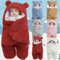 Newborn Baby Boys Girls Thick Fleece Warm Sleeping Blanket Hoodie Swaddle Wrap